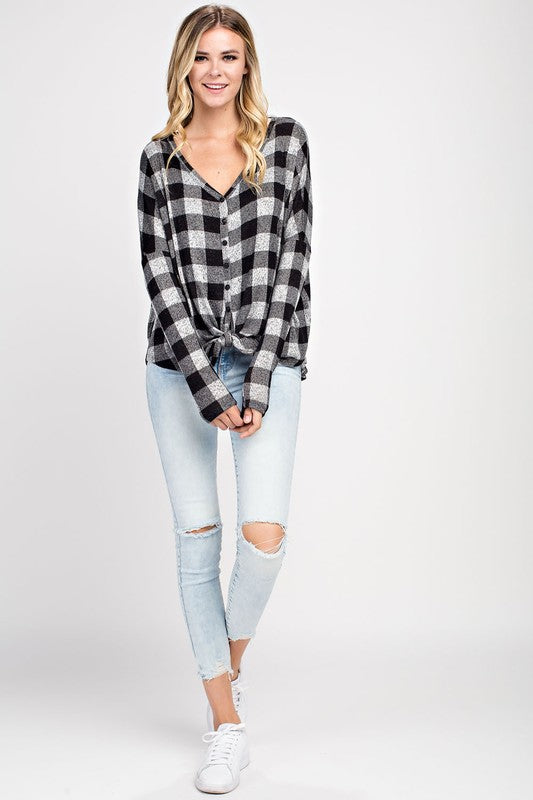 Super Soft  Plaid Button Down Tie Top - Restocked!