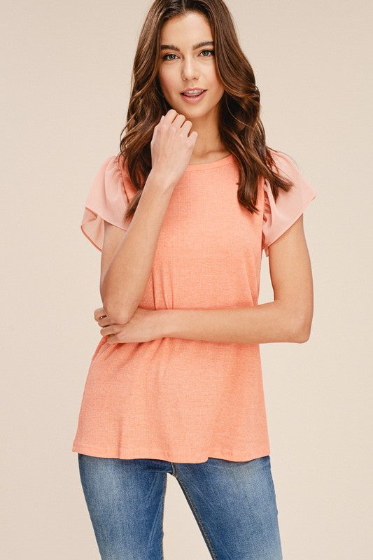 Knitted Ruffle Sleeve T-Shirt