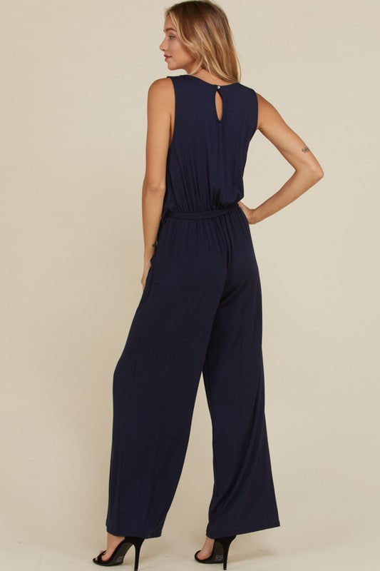 Sleeveless Solid Jumpsuit (lg navy left)