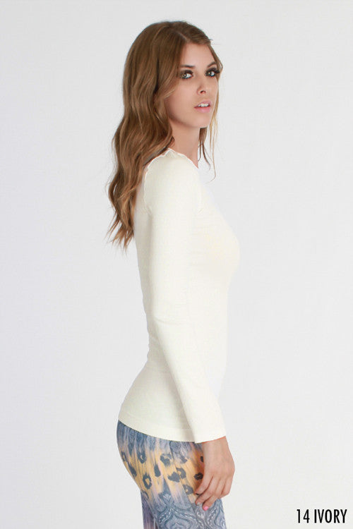 Long Sleeve Crew Neck Top - Nikibiki