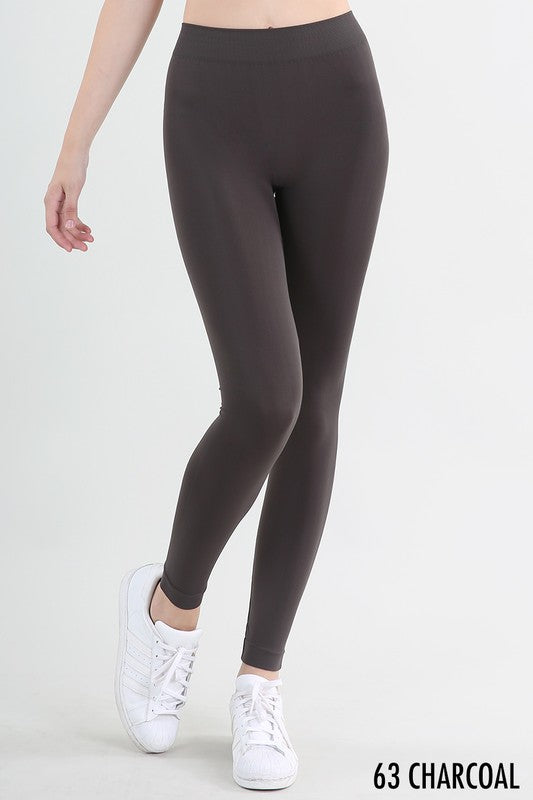 Nikibiki Solid Thick Leggings (charcoal left)