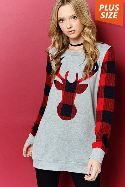 Reindeer Plaid Top 1XL-3XL