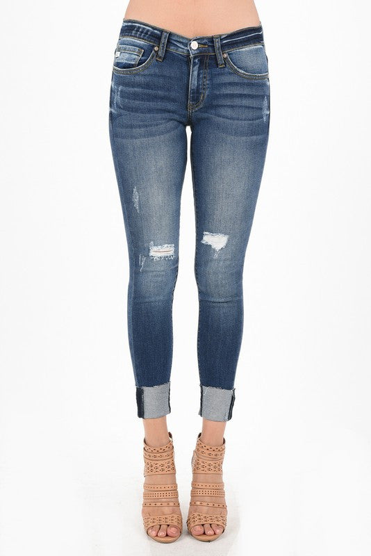 Kan Can Distressed Cropped Jean - Restocked (size 5 left)