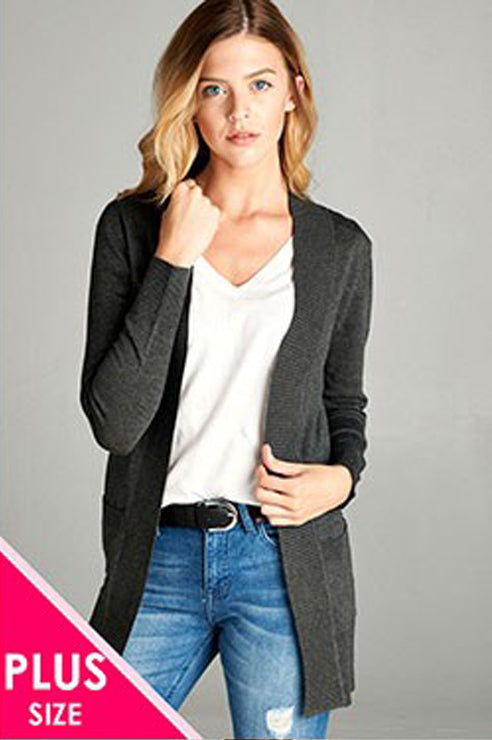 Curvy Lightweight Cardigan (2xl charcoal left)