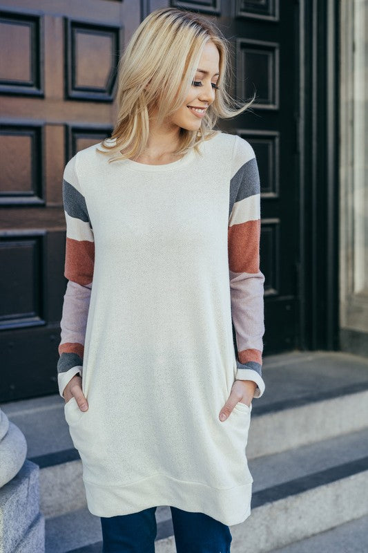 Striped Sleeve Tunic Top  S-XL