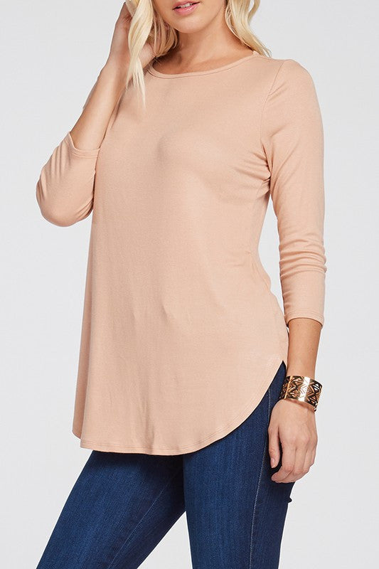 Jersey 3/4 Sleeve Top (med blush left)