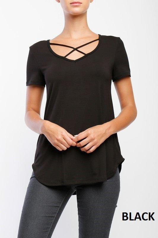 Short Sleeve Criss Cross Top - Restocked & Colors Added!