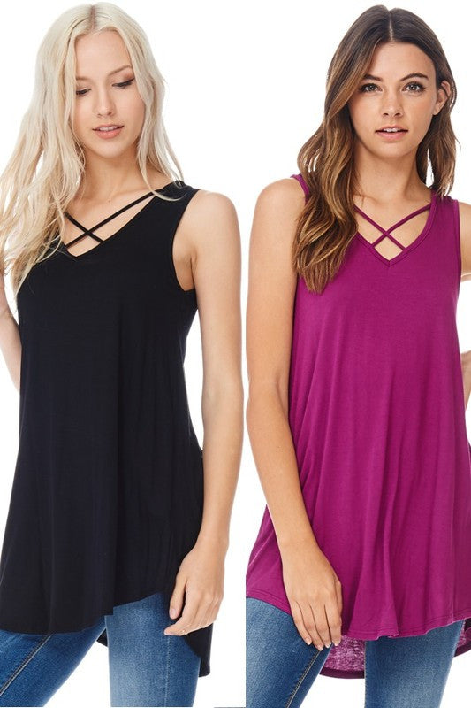 Criss Cross Tank Tunic (sm navy left)