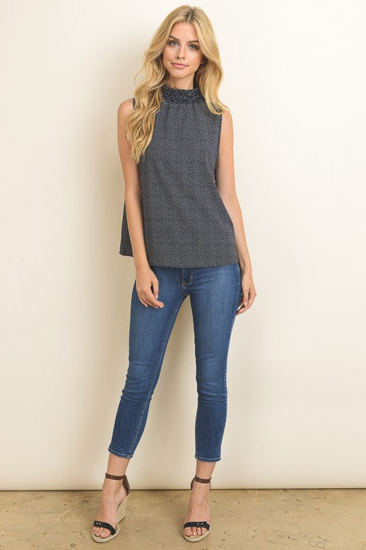 Ruched Neck Top (med navy left)