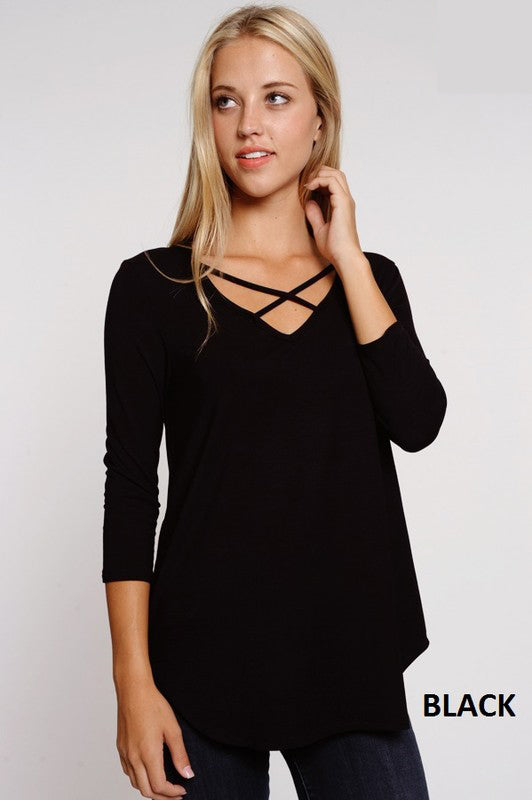 Criss Cross 3/4 Sleeve Top