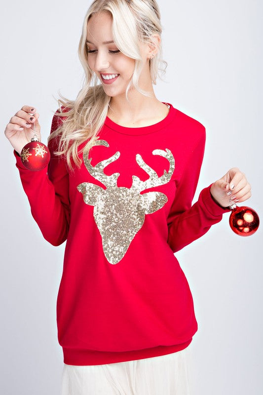 Sequined Reindeer Top