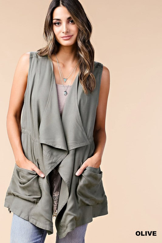 Rayon Twill Vest (lg olive left)