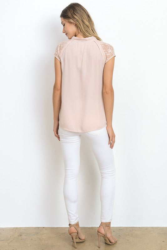 Lace Shoulder Top (lg blush left)