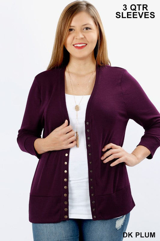 Snap Button Cardigan 3/4 Sleeve  1XL-3XL