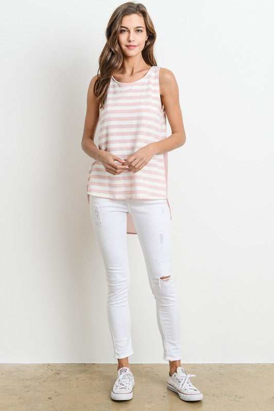 Sleeveless Hi Low Stripe Top (lg left)
