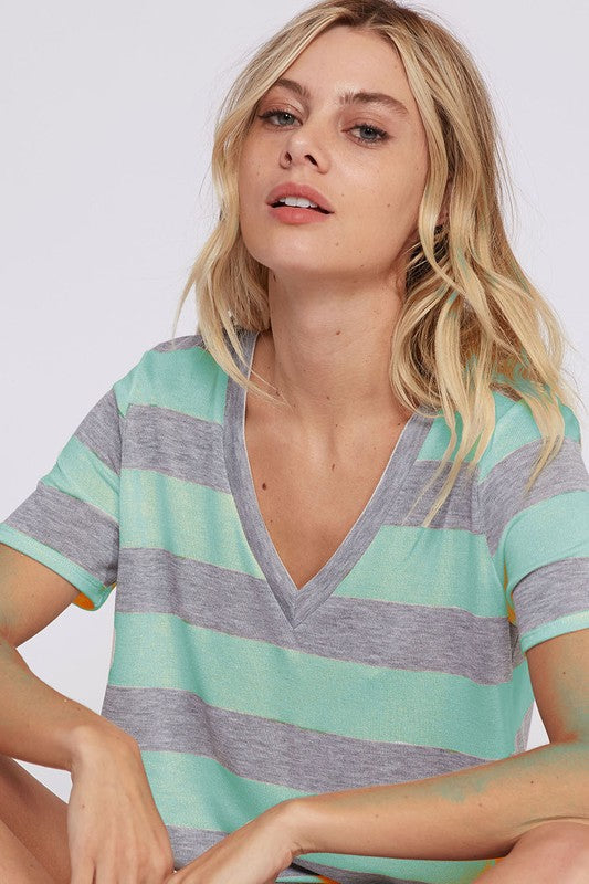 Striped V-Neck Top (grey/white left)