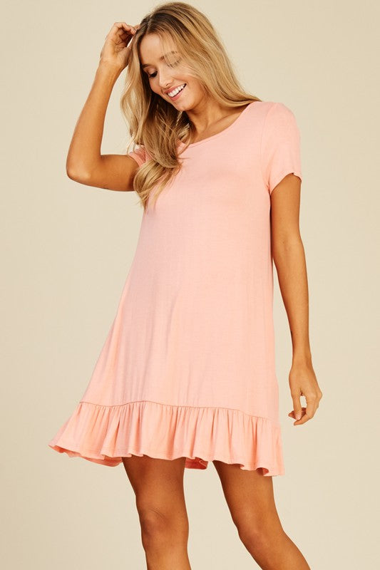 Short Sleeve Ruffled Dress