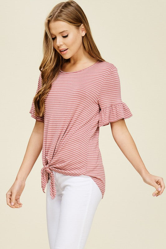 Stripe and Tie Top