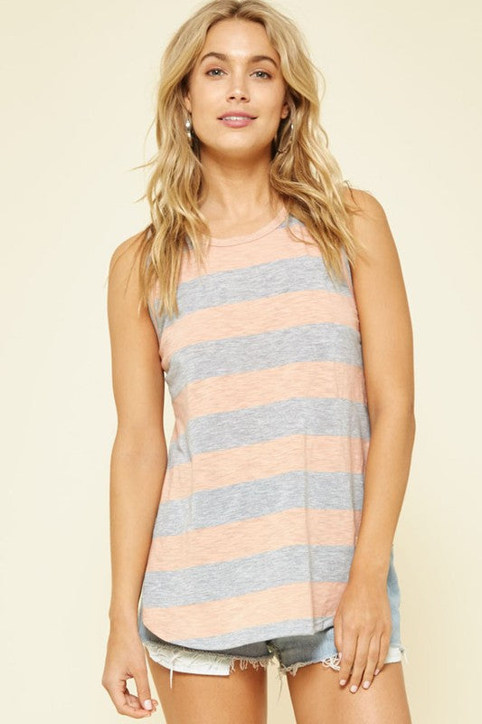 Striped Open Sides Knit Top (lg peach left)