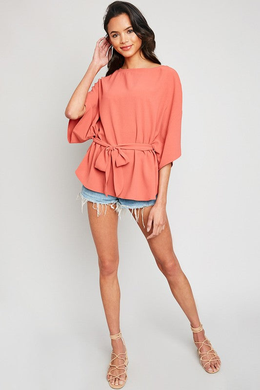 Short Sleeve Self Tie Blouse
