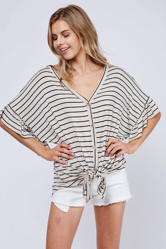 Striped Ruffle Sleeve Top (lg left)
