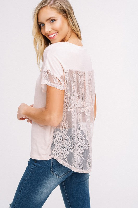 Sheer Lace Contrast Back Top (lg left)