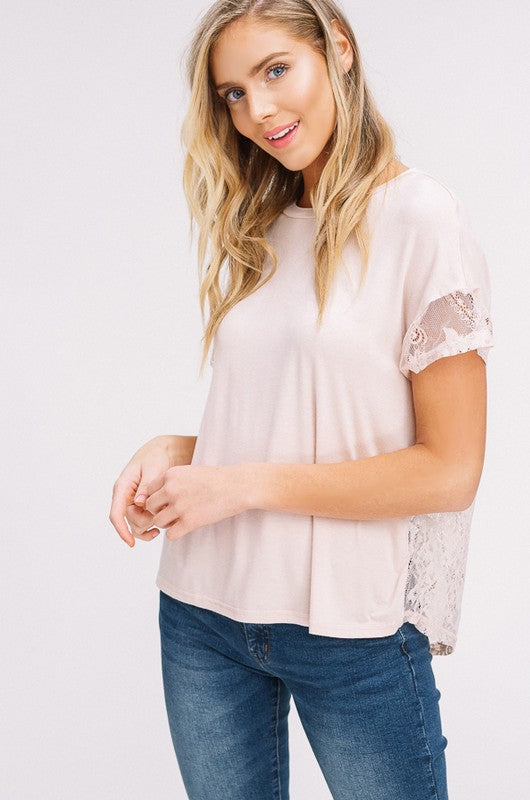 Sheer Lace Contrast Back Top