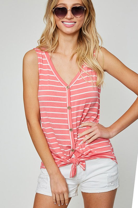 Striped Button Tie Top
