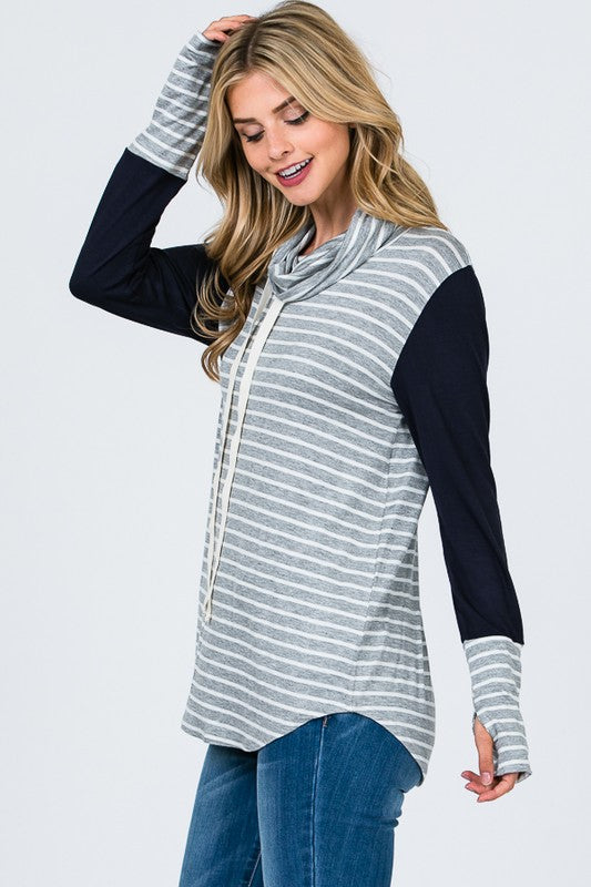 Cowl Neck Striped Top (sm navy left)