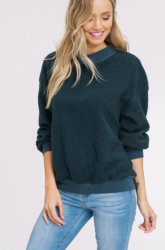 Faux Shearling Sweatshirt - 2 Colors