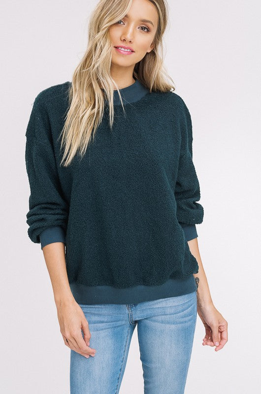 Faux Shearling Sweatshirt (lg emerald left)