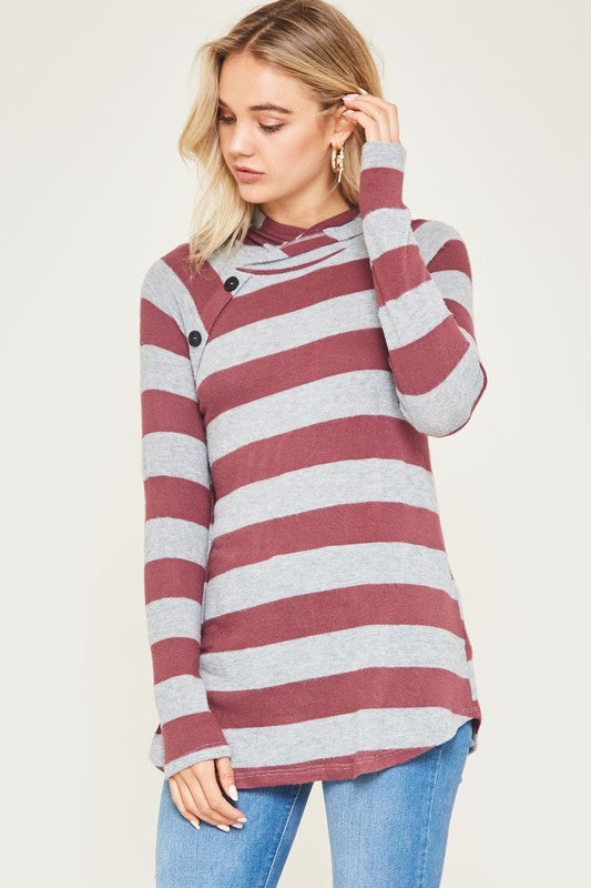 Soft Hooded Button Top (lg and xl left)