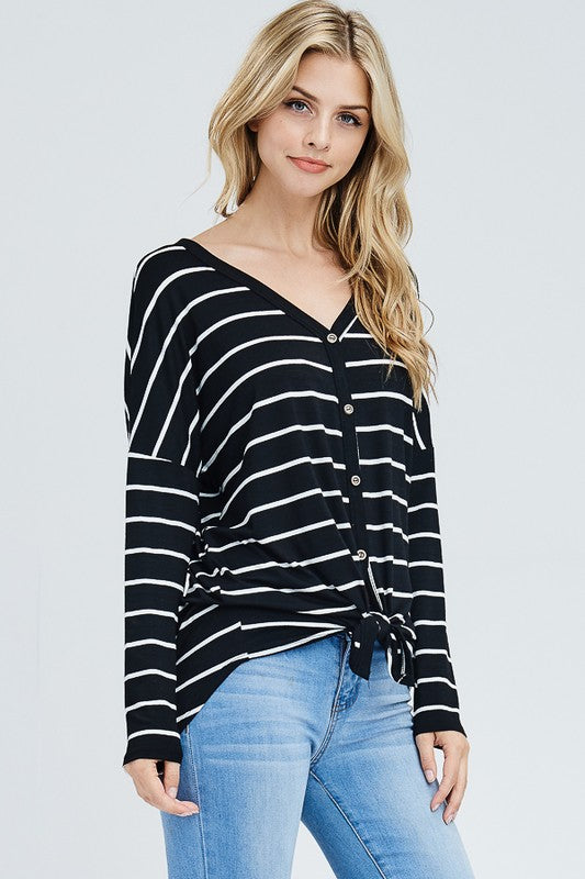 Front Self Tie Knot Striped Top S-XL