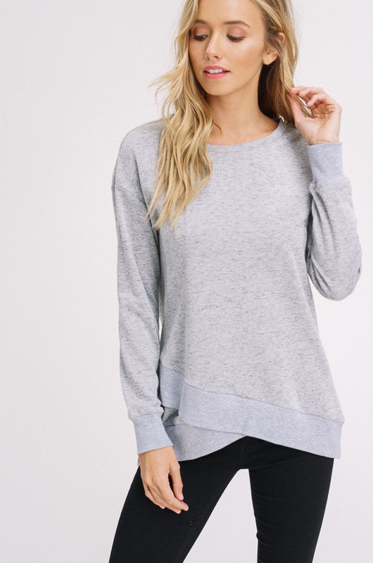Petal Hem Sweatshirt - Restocked (sm grey left)