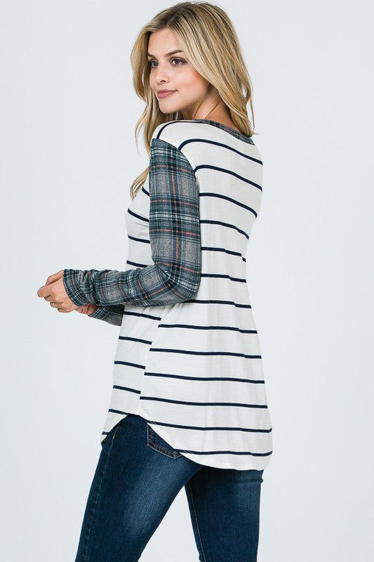 Stripe & Plaid Top