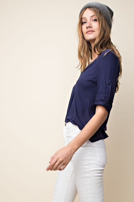Roll-tab Sleeve Blouse (lg left)