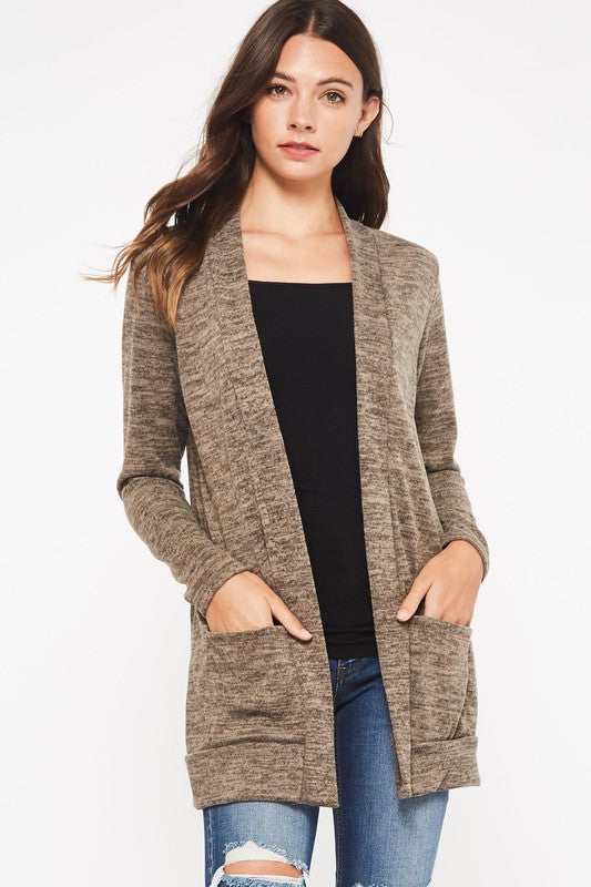 Solid Brushed Cardigan - 3 Colors  S-XL