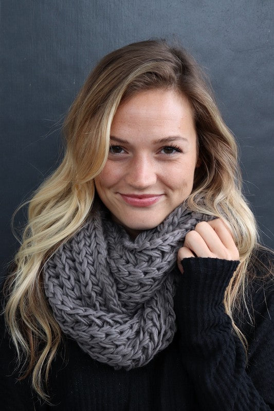 Knit Infinity Scarf (grey left)