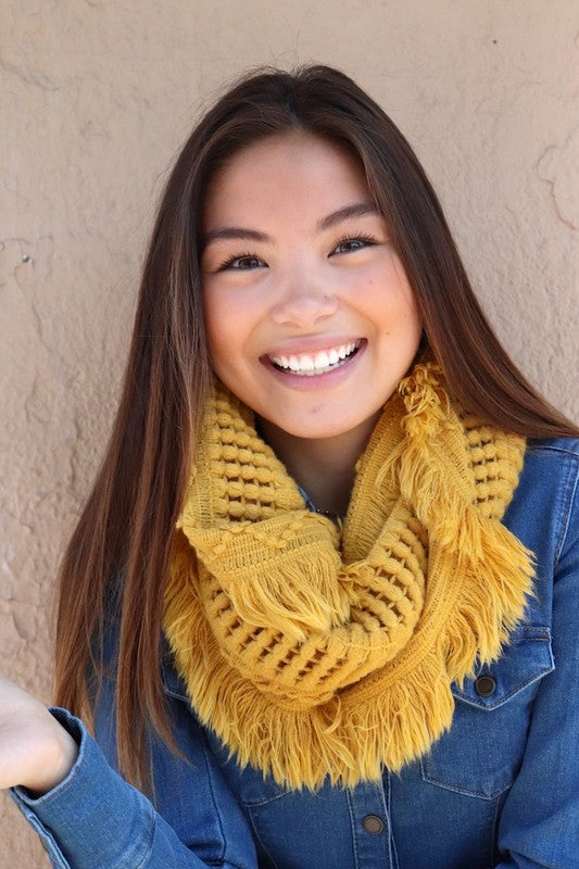 Mustard Knit Infinity Scarf