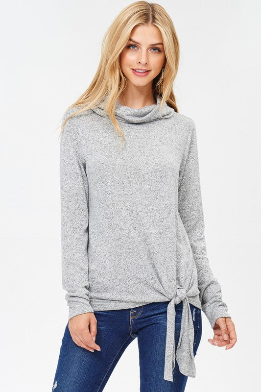 Side Knot Cowl Neck Knit Sweater  S-XL