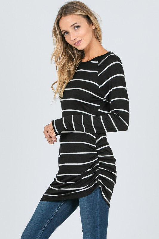 Striped Side Shirring Top