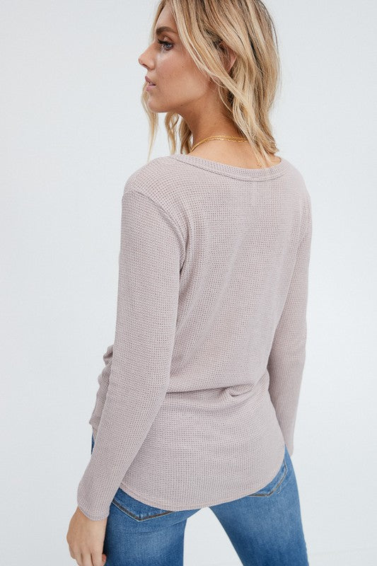 Waffle Knit Front Tie Top (sm dusty rose left)