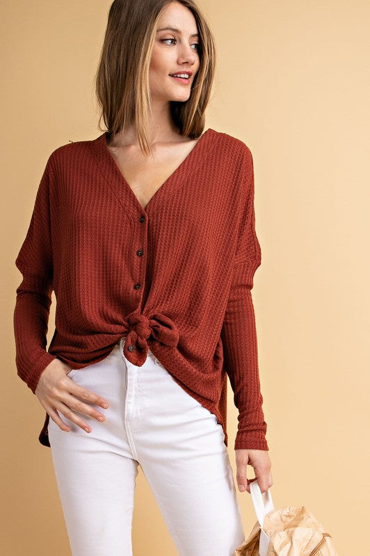 Button Down Henley Top - 3 Colors