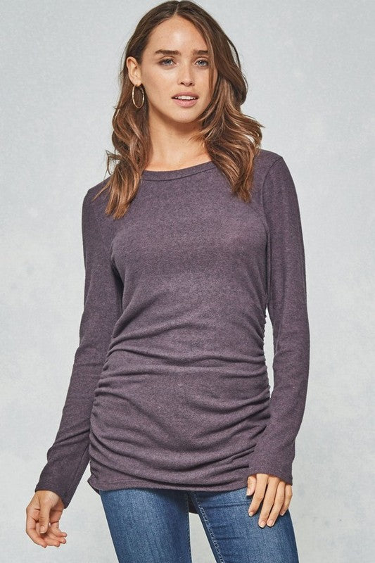 Brush Knit Shirred Top