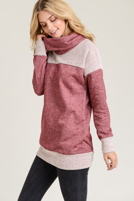 Cowl Neck Tunic (sm & lg burgundy left)