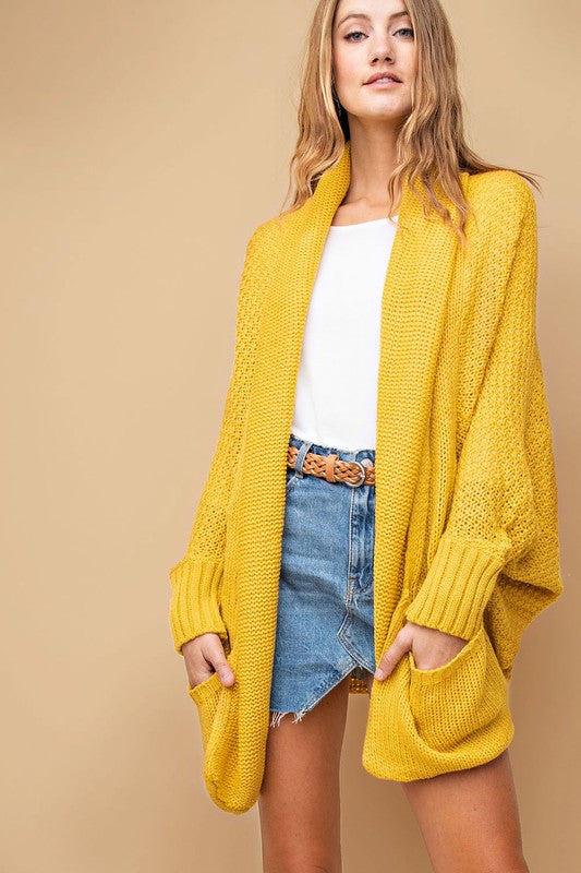 Pattern Knit Cardigan (lg mustard left)