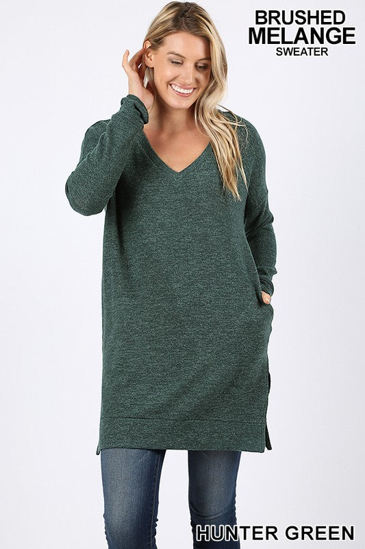 V-Neck Tunic Sweater (lg & xl left)