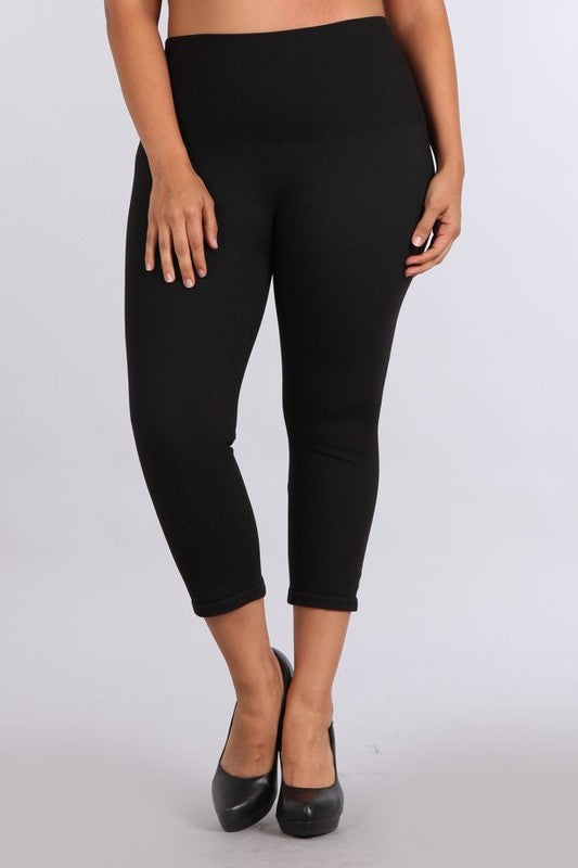 High Waist Denim Cropped Leggings - One Size or Curvy