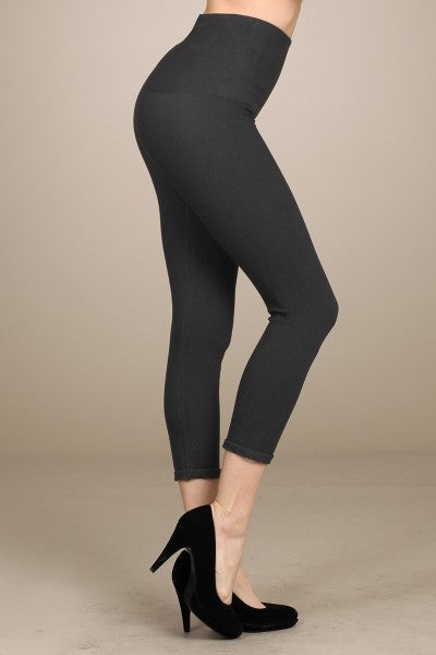 Black High Waist Denim Cropped Leggings - S/M or M/L