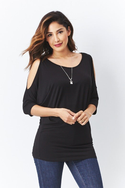 Cold-Shoulder Dolman Top